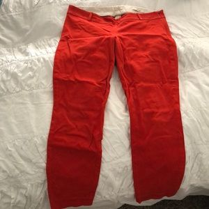Red J Crew Minnie ankle pants size 6